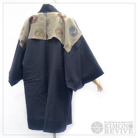 Men's haori w/dragon lining, navy blue #h035