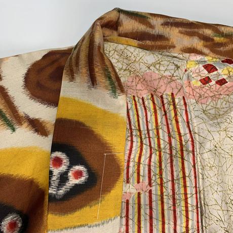 Abstract pattern MEISEN haori, brown #h003