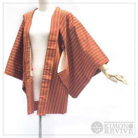 Stripe pattern haori, persimmon #h020