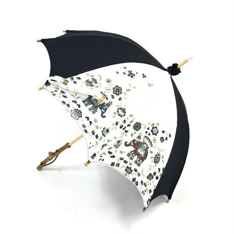 日傘 岡重 レディース日傘 おしゃれ 岡重京友禅染め バンブー ホワイト