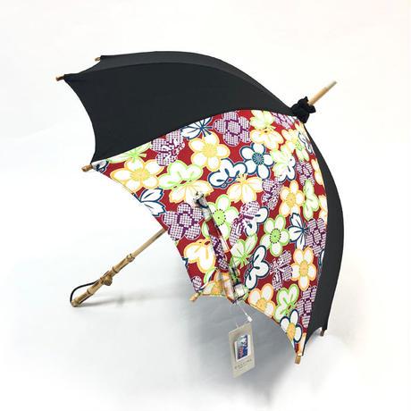 日傘 UVカット 岡重 長傘 持ち手バンブー レディース日傘 おしゃれ 岡重京友禅染め バンブー レッド 和装 着物 セール
