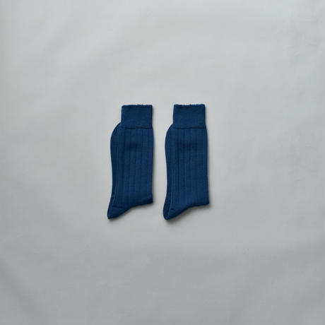 MERINO WOOL RIB SOCKS / 28-30cm  Ink blue