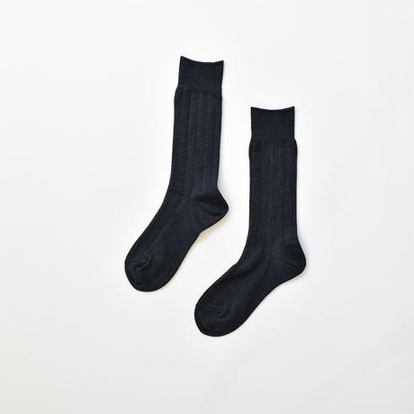 COTTON RIB SOCKS / 22-24cm  Dark blue