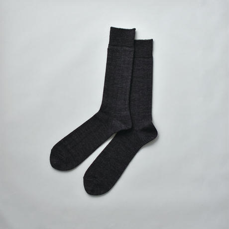 MERINO WOOL RIB SOCKS / 28-30cm  Charcoal gray