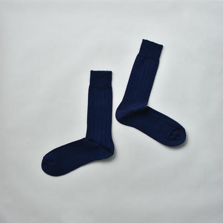 MERINO WOOL RIB SOCKS / 25-27cm  Navy blue