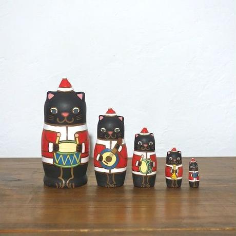 MATRYOSHKA 5sets 黒猫サンタ楽隊 Cat Santa marching band