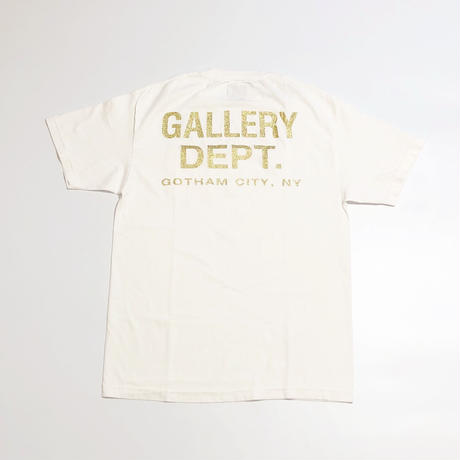 Gallery Dept Tee - Dusty Gold Logo - White