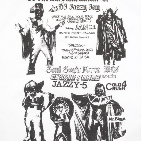JAZZY JAY/SOUL SONIC FORCE/COLD CRUSH 4 flyer T-SHIRT(WHITE)