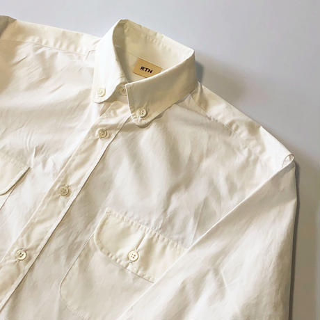 RTH 2 POCKET SHIRT- WHITE POPLIN-