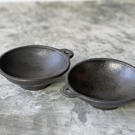 【庄司理恵】黒 手付き小鉢