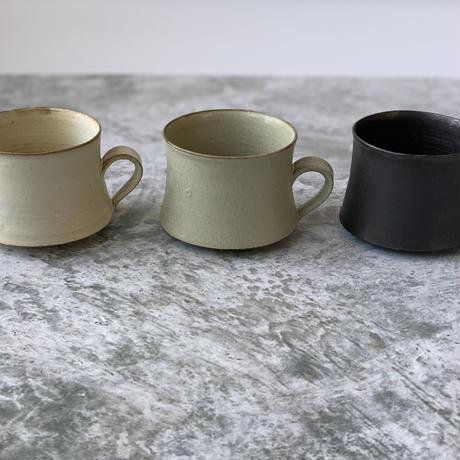 【パンと器/塚本友太】コーヒーカップ 白/緑/黒