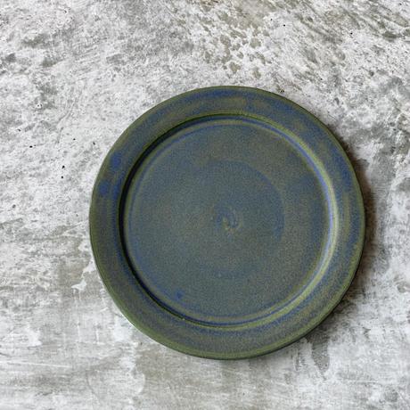 【塚本友太】17㎝リム皿 青緑