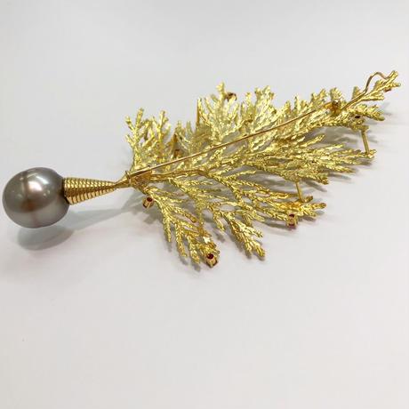 K18 真珠 マルチブローチ