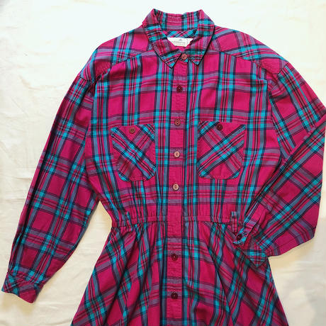 MADRAS CHECK LONG SHIRT DRESS