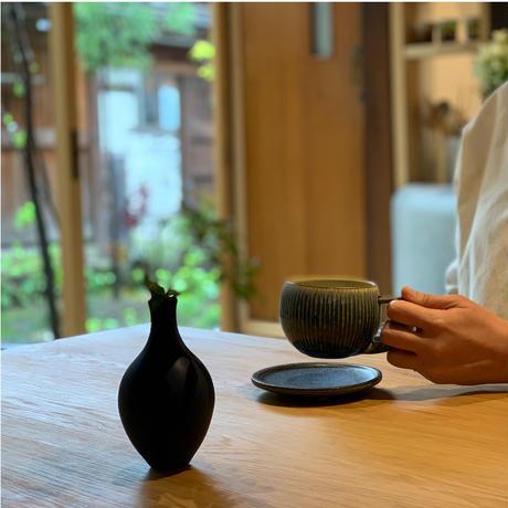 しずく窯 / 高山 マグカップ(青・白 縞)
