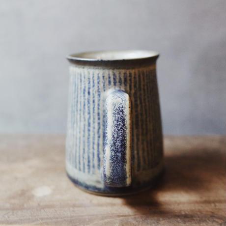 しずく窯 / 高山 マグカップ(青縞・切立)