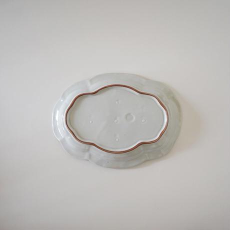 林健二・白釉楕円皿(大)