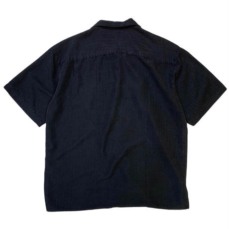 BLACK STRIPED RAYON SHIRT size L,XL