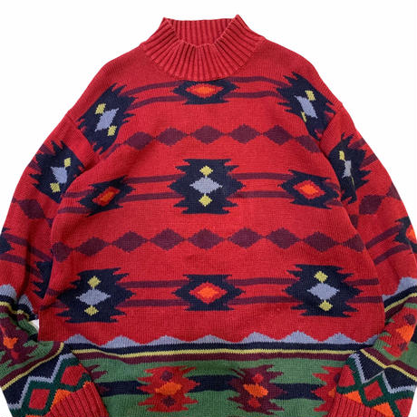 NATIVE PATTERN KNIT(RAMIE×COTTON) size L