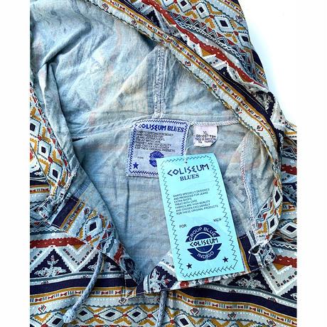 DEAD STOCK NATIVE PATTERN INDIGO HOODIE size XL
