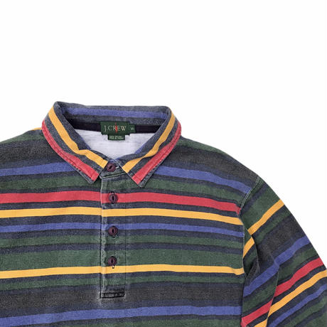 J.CREW  L/s Striped Polo Shirt  Size-S 大き目 90s~