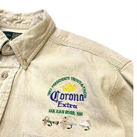 🎣1997 CORONA BEER×ORVIS COTTON SHIRT  size L程