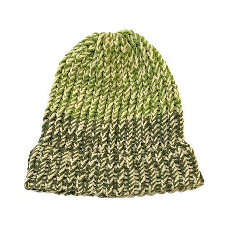 2TONE HAND MADE KNIT CAP (LIGHT GREEN×GREEN)