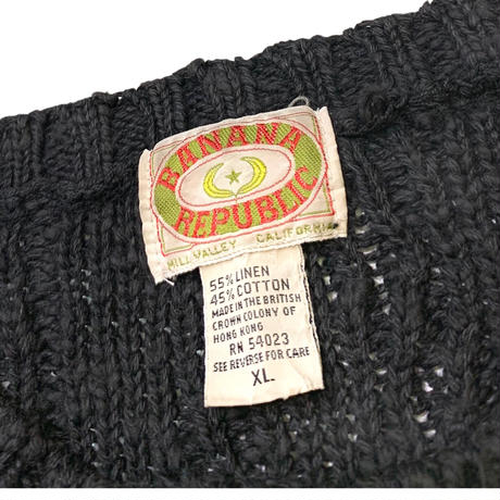 80's BANANA REPUBLIC BLACK KNIT(LINEN×COTTON) size XL