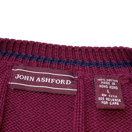 JOHN ASHFORD COTTON KNIT CARDIGAN size L