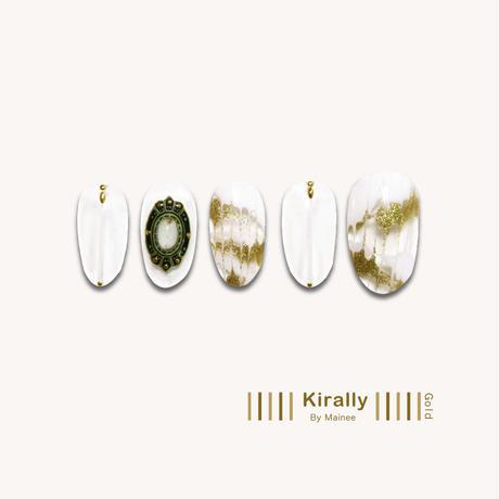 8月25日発売!KiraNail Kirally NailSticker Maineeプロデュース brooch-Oval  BeigeGold/BeigeSilver