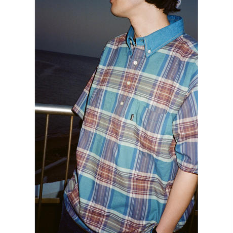 Plaid x Denim S/S Pullover Shirt