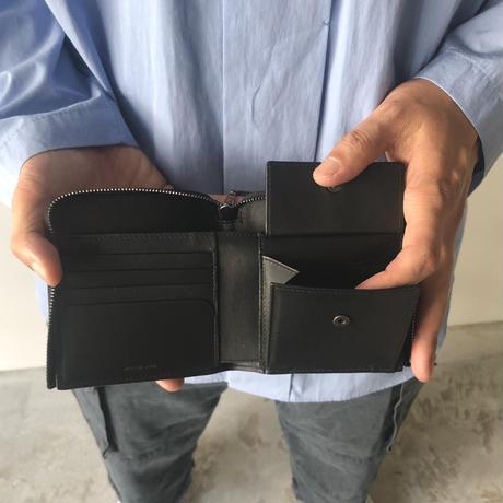 STUDIO NICHLSON /SMOOTH CALF LEATHER ZIP AROUND WALLET (BLACK)