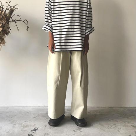 STUDIO NICHOLSON / PEACHED COTTON TWILL VOLUME PLEAT PANTS (DOVE)
