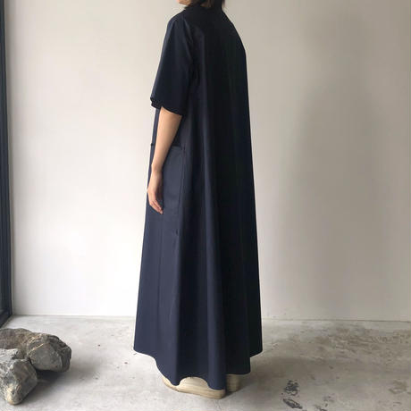 POSTELEGANT /  Cotton Broad Long Dress(Navy )
