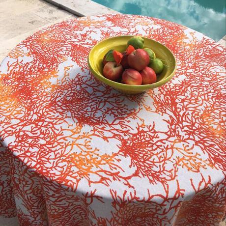サンゴ柄布 (オレンジ)