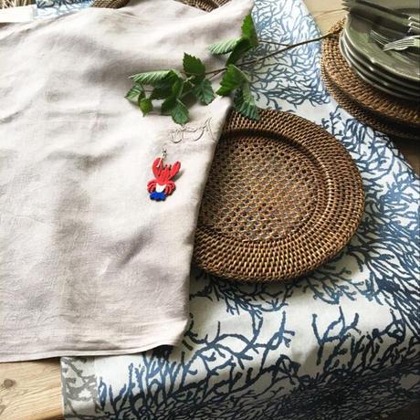 サンゴ柄布 (ブルーマリン)