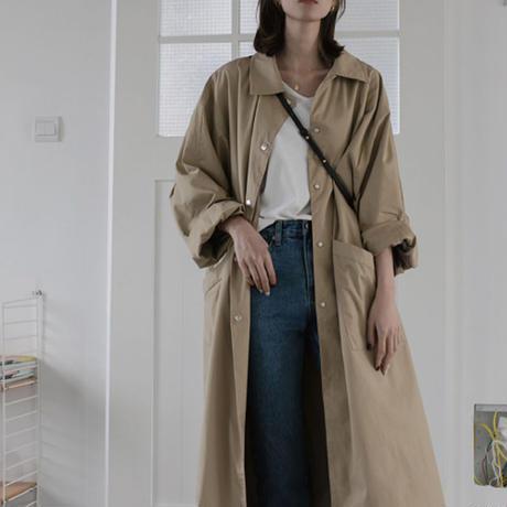 【即納】 オーバーサイズ ステンカラー ロングコート