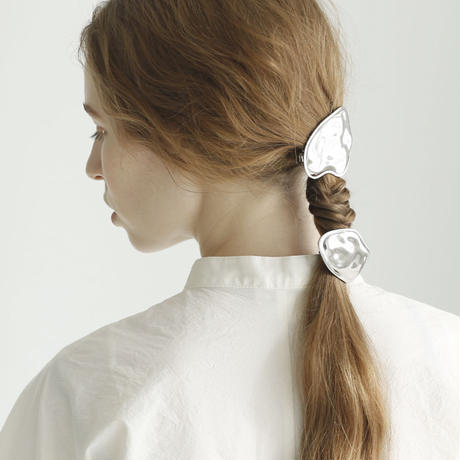 wave hair tie  / silver