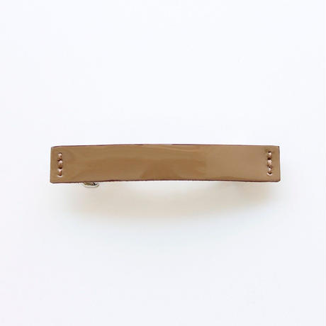 patent leather barrette small / brown