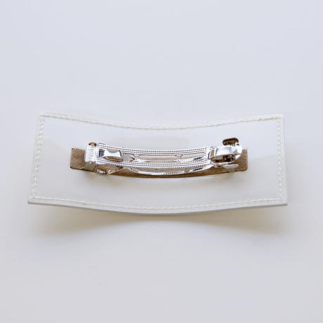 patent leather barrette big / white