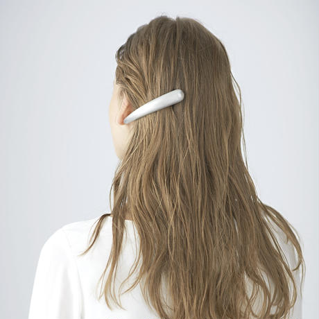 flowing slim barrette / hair line silver