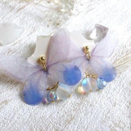 【FayFay】水色の蝶とつゆの雫ピアス(イヤリング)