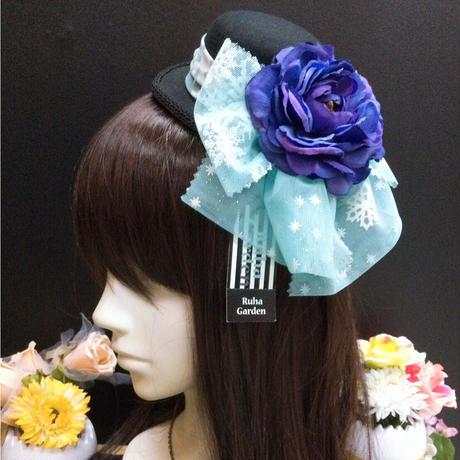 【Ruha Garden】B品SALE/ミニハット付きカチューシャKH16-14/BK×BL