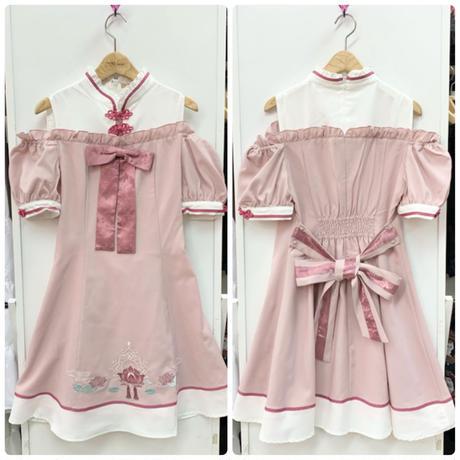 【Amavel】水面に揺れる睡蓮花チャイナワンピース/ピンク