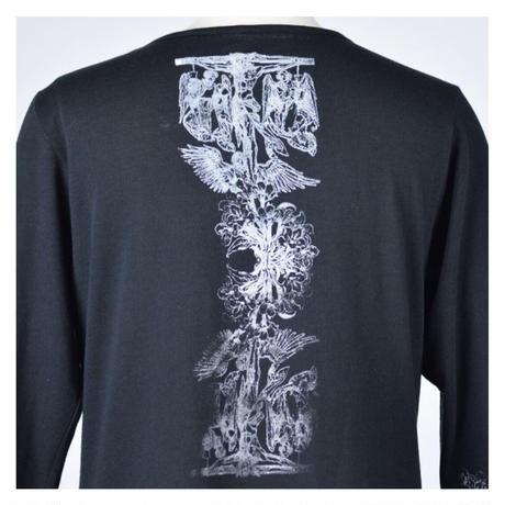 【h.NAOTO】Cross paint V neck long sleeve T-SH/CNF29-T142