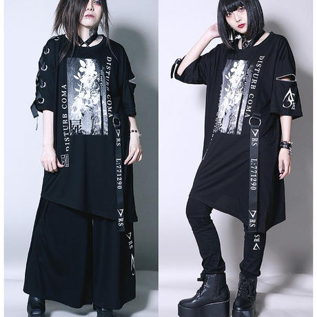 【SEXPOTReVeNGe】COMA LACE UP SLEEVE ASYMMETRY デザイン カットソー【SA68768】