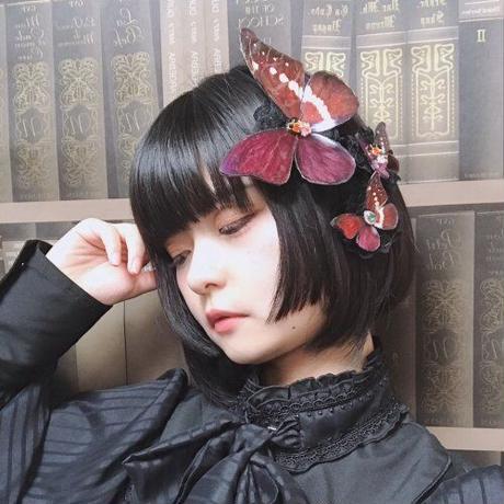 【ゴシックホリック】蝶々クリップ ハロウィンブルー/中/276