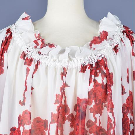 【h.NAOTO】Bloody Rose Off Shoulder tunic/CNF28-H169 WH-RD/M