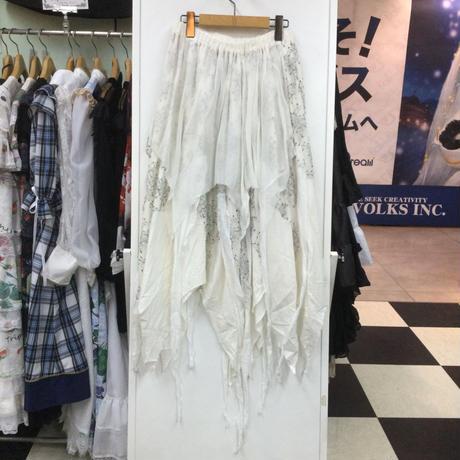 【h.NAOTO】  Bone white gauze & lace skirt/CNF30-S126 WH/M