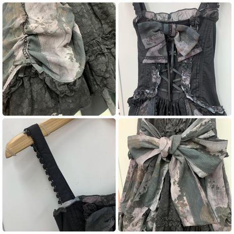 【h.NAOTO】Dark Berry Dress/BFD21-O006 BK-GY/M